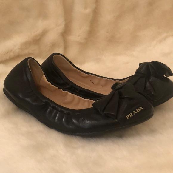 Prada black bow flats 36